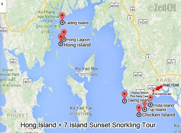 Hong Island Map 7 Islands Sunset Tour (snorkeling + Hong Island)   MOTOGIRL 'in